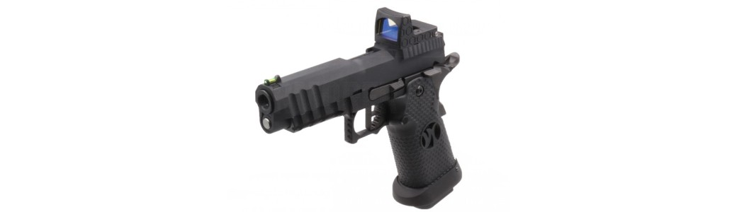 Armorer Works Custom Black Ace Hi-Capa GBBP with Reflex Sight
