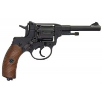 Gun Heaven (Win Gun) Nagant 721 4 inch 6mm Co2 Revolver (Brown Grip) - Black