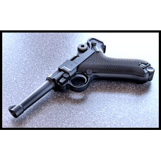 """WE P08 4"""" Classic Luger in black metal GBB."""